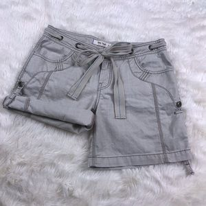 Free People Khaki roll-up safari bow shorts 2